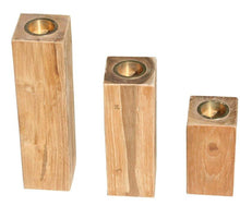Recycled Teak Wood Candleholder, set of 3 - La Place USA Furniture Outlet