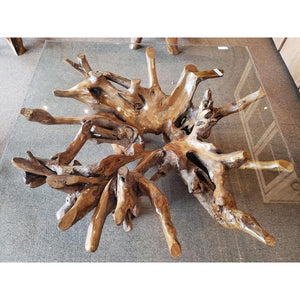 Teak Wood Root Coffee Table Including 55 inch Square Glass Top - La Place USA Furniture Outlet