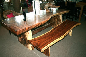 "Suar Live Edge Slab Backless Bench approximately 69"" long - La Place USA Furniture Outlet"