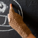 Camel Wool Fingerless Gloves