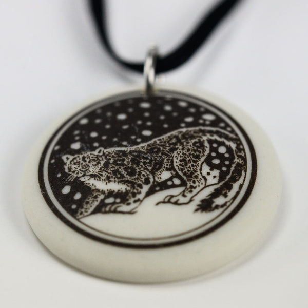 Porcelain Snow Leopard Necklace