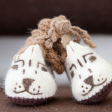 Snow Leopard Face Booties with Camel Wool Tops