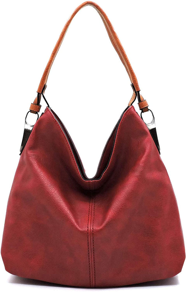 Le Miel Simple Elegant 3-Compartment Hobo w/Strap - New Colors! (Deep Red)
