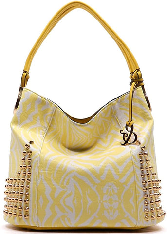 Amy & Joey Rhinestone Accent Top Handle Crossbody- Blue (Yellow)