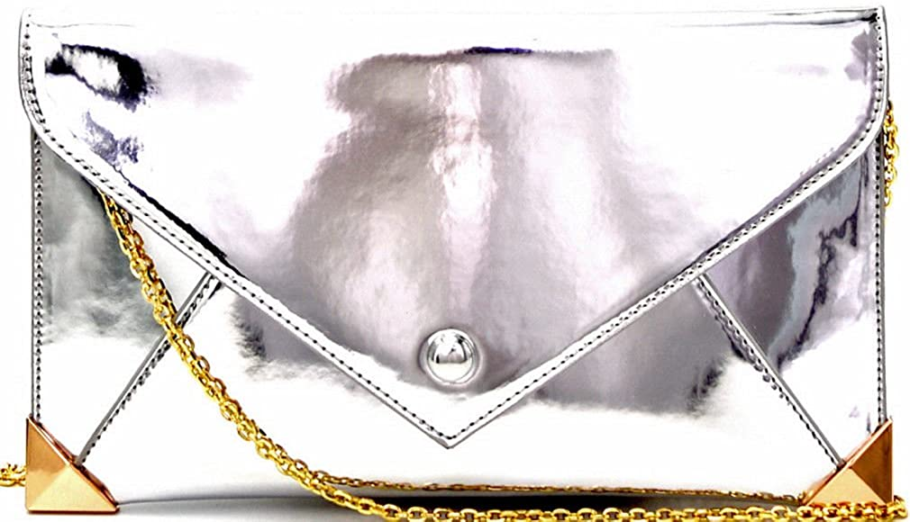 New Handbag Republic Metallic Envelope Large Clutch/Crossbody- Silver
