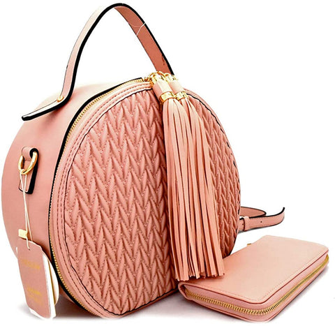 Handbag Republic Larger Size Quilted Round Satchel/Crossbody + Wallet- Blush