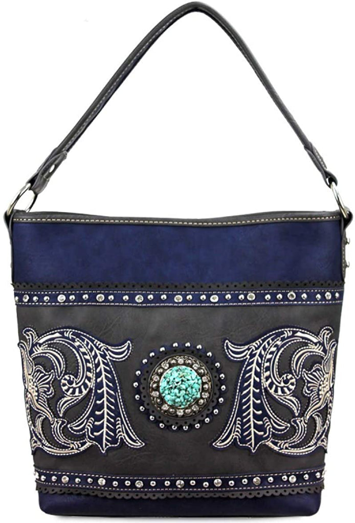 Montana West Floral Embroidered Hobo with TQ Center (Navy/Gray)
