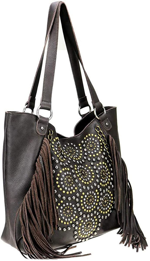 Montana West Delila Suede Large Tote w/Fringe, Large+ (Coffee)
