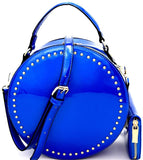 Handbag Republic Stud Accent Patent Round Crossbody w/Wallet- Blue