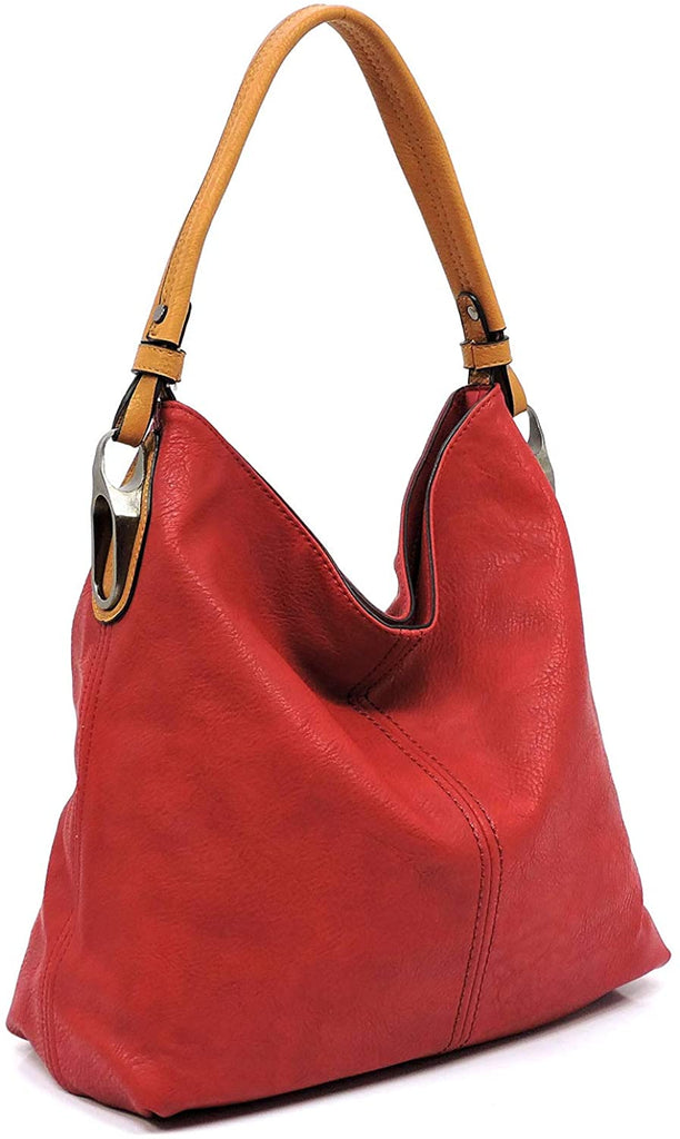 New Le Miel Simple Elegant 3-Compartment Large Hobo w/Strap (Red)