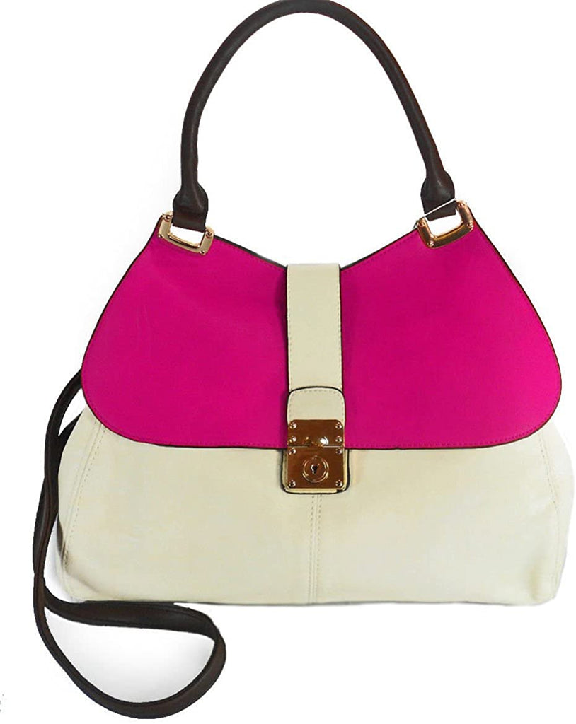 Miztique Color-Block, Flap-Top Hobo w/Strap- Hot Pink