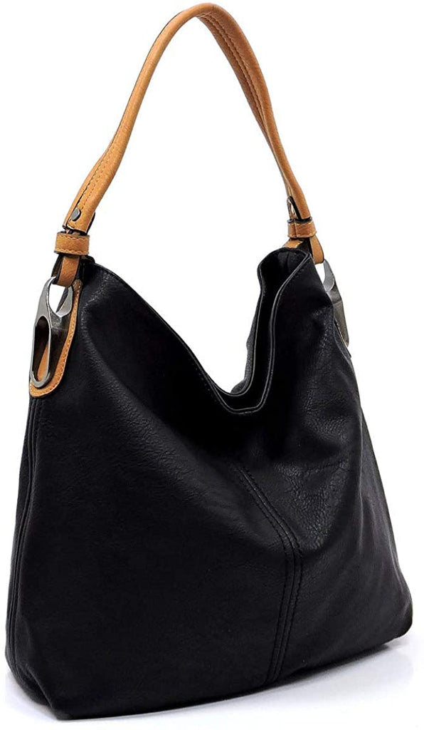 New Le Miel Simple Elegant 3-Compartment Large Hobo w/Strap (Black)