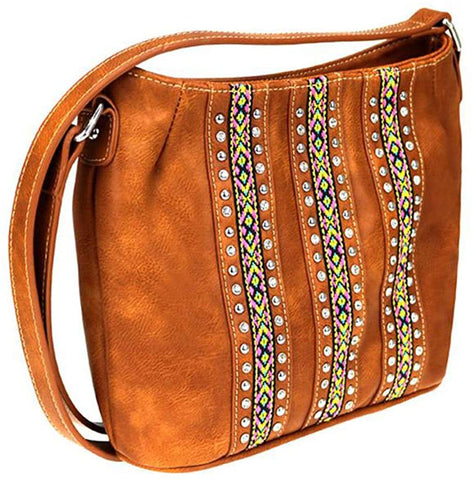 Montana West Crystal Studded, Embroidered Aztec Crossbody (Brown)