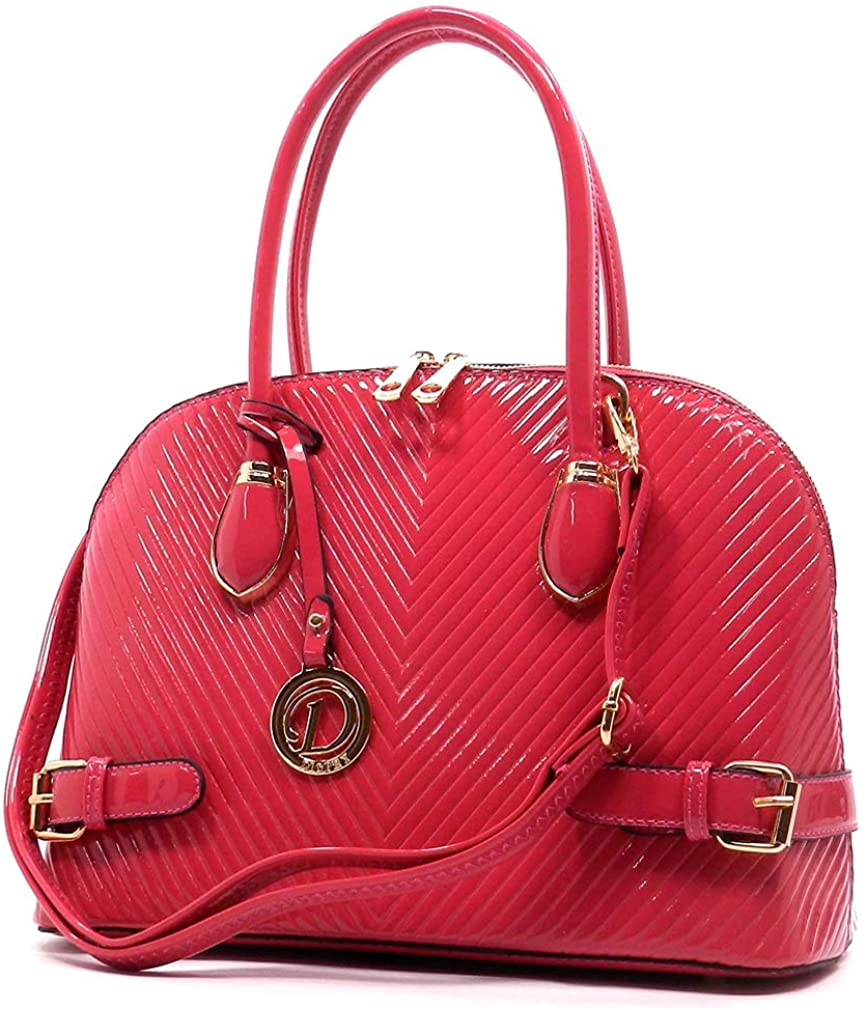 Diophy Fashions Glossy Chevron Embossed Dome Tote w/Strap (Fuchsia)