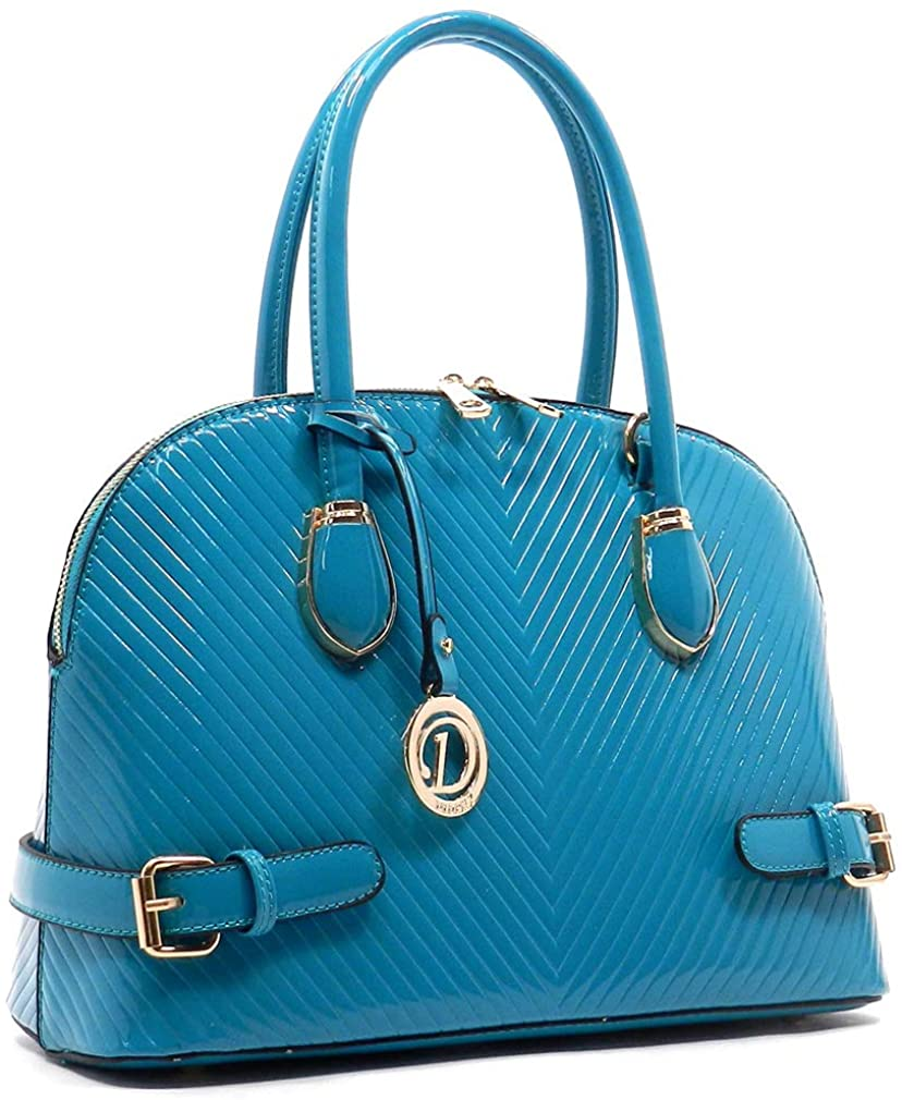 Diophy Fashions Glossy Chevron Embossed Dome Tote w/Strap (Blue)