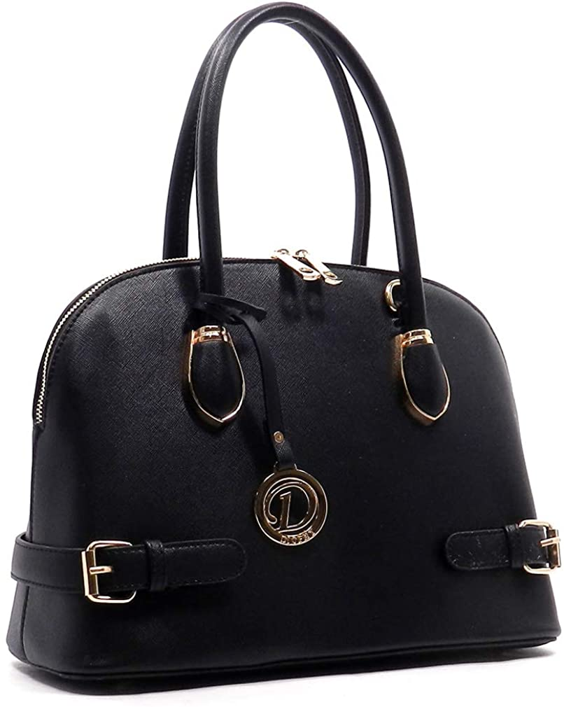 Diophy Fashions Large Double Zip Around Saffiano Dome Tote w/Strap (Black)