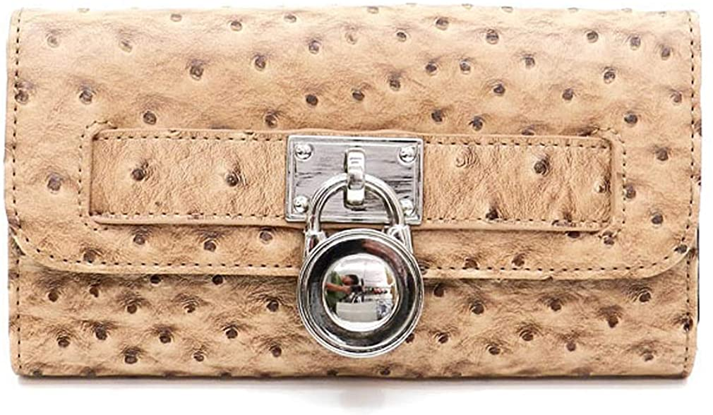 Fashion Ostrich Embossed Tri-fold Checkbook Wallet w/Padlock Accent (Wheat)
