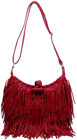 Pink Haley, Double Sided Fringe, Adjustable Crossbody Hobo- Red