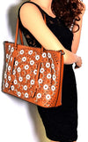 Vieta Perforated Floral Tote w/Matching Pull-out Crossbody- Red