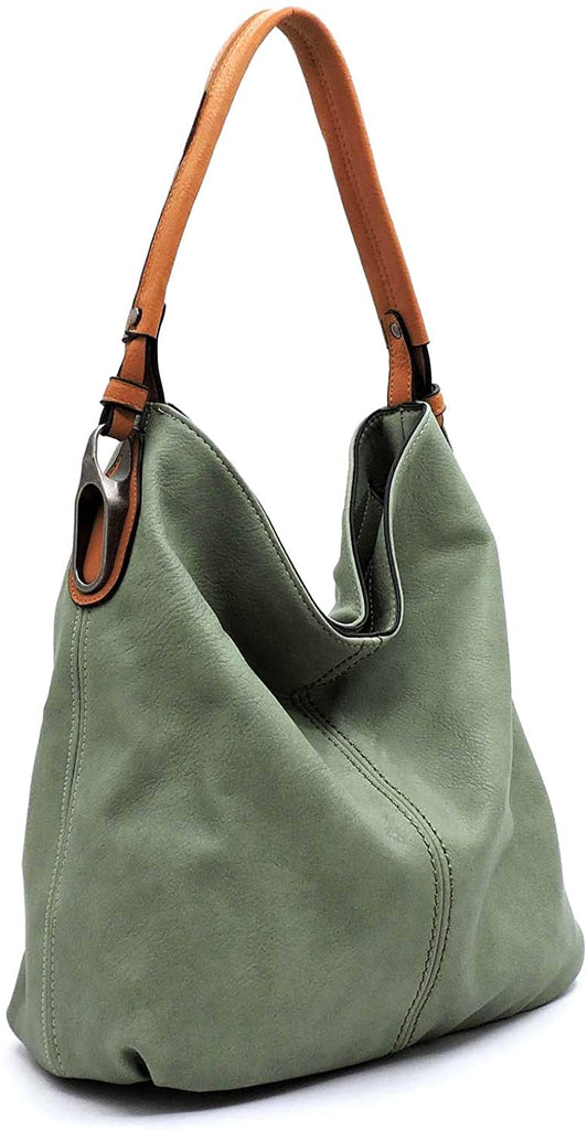 New Le Miel Simple Elegant 3-Compartment Large Hobo w/Strap (Green)