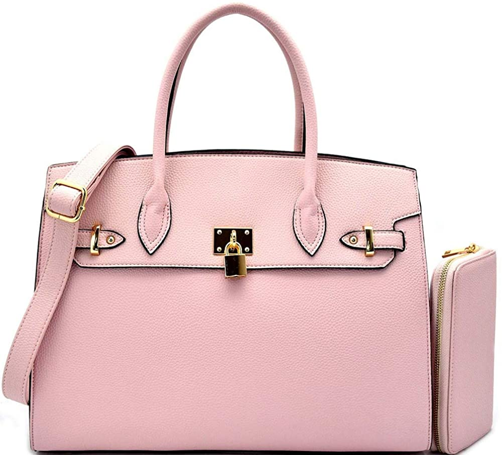 Deluxity Structured Large Satchel w/Padlock Accent + Strap (Blush)