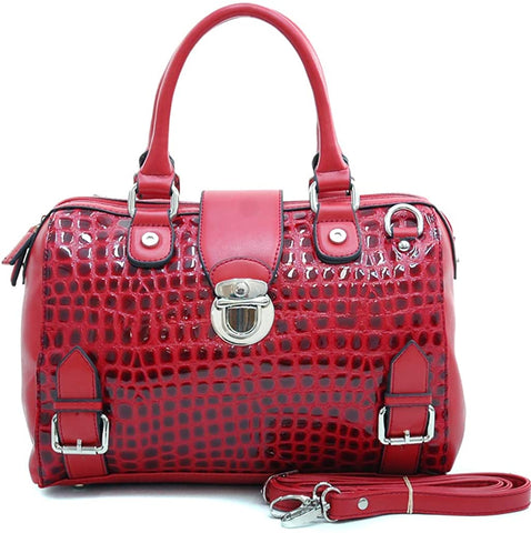 Dasein Croc Embossed 2-Tone Boston Bag w/Strap- RED