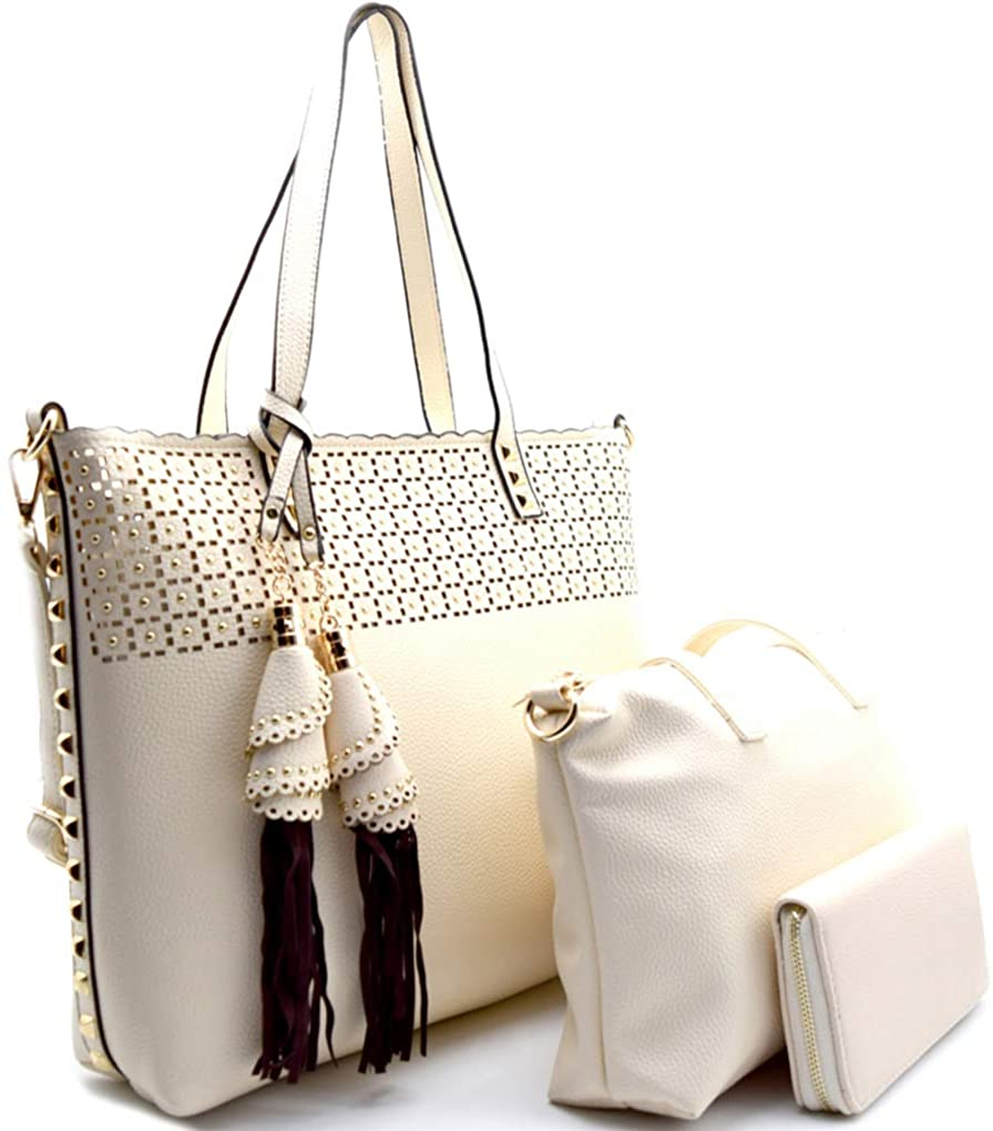 D'Orcia Perforated Tote w/Pull-out Crossbody + Wallet (Cream)