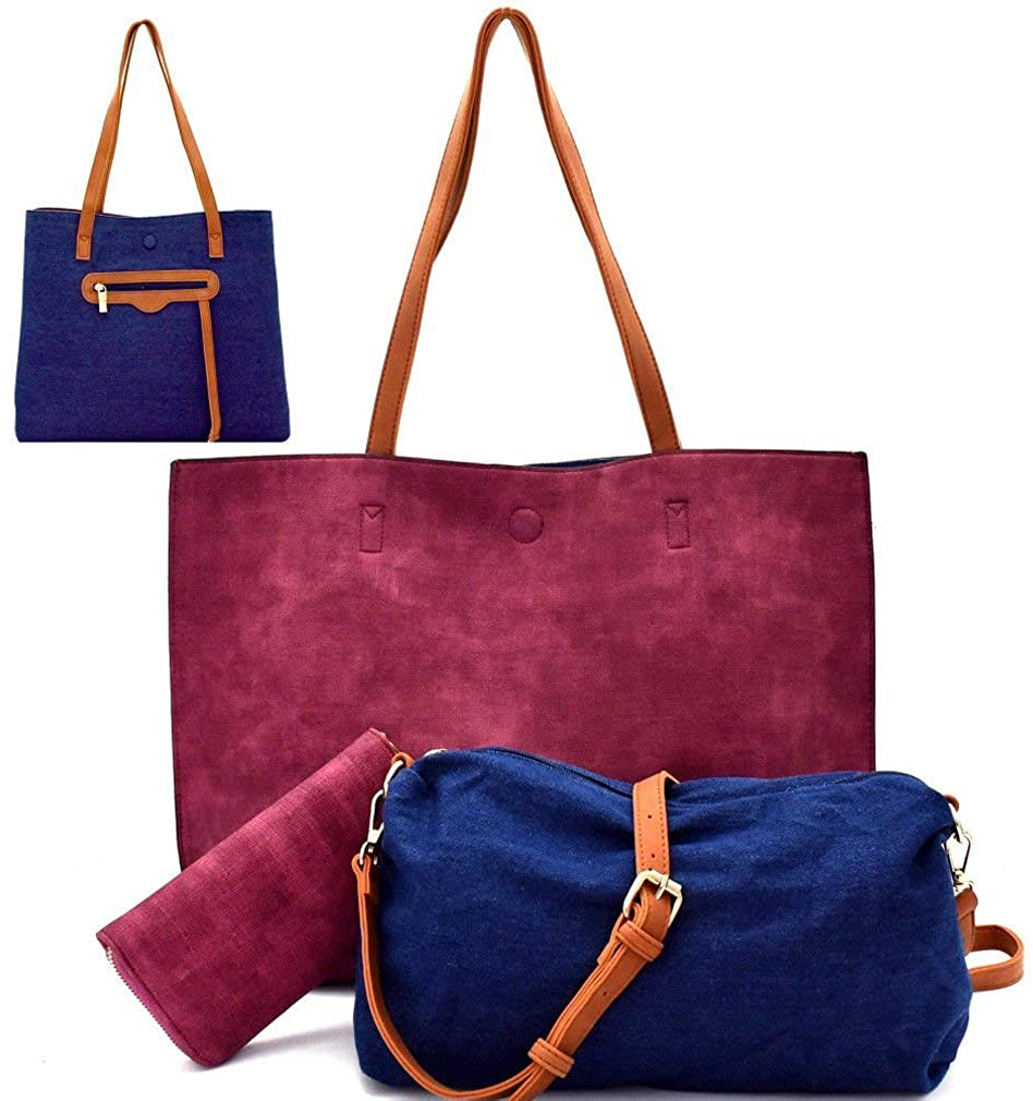 Handbag Republic 4pc set: Reversible Tote, Crossbody, Coin + Wallet- Wine/Denim
