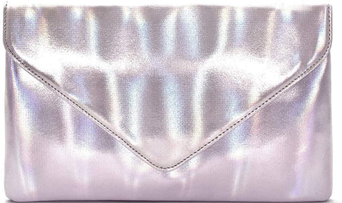 3am Forever Iridescent Metallic Envelope Clutch w/Strap (Silver)
