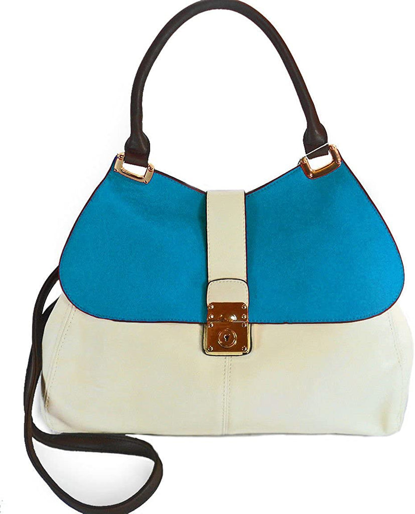 Miztique Color-Block, Flap-Top Hobo w/Strap- Turquoise