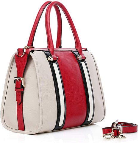 Austin Handbags Tocco Boston Satchel with Strap- Red Multi