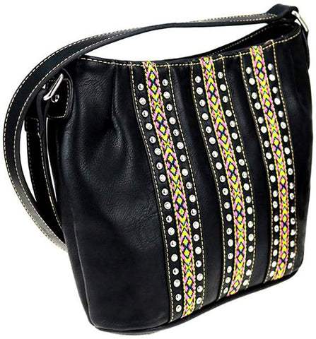 Montana West Crystal Studded, Embroidered Aztec Crossbody (Black)