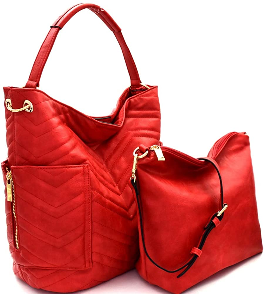 Handbag Republic Quilted Side Pocket Hobo w/Pull-out Crossbody (Red)