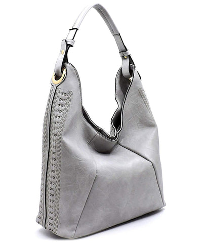 Handbag Republic Classic Hobo w/Perforated Accents (Gray)