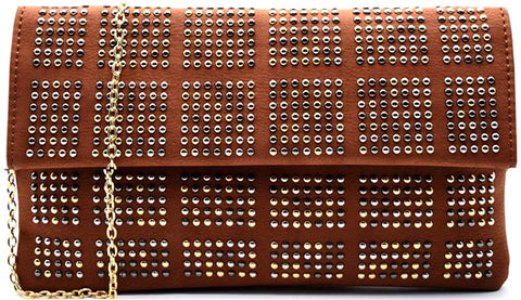 3am Forever Multi Studded Flap Clutch w/Strap (Brown)