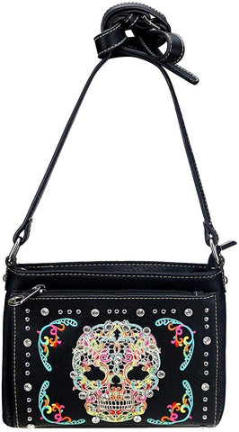 Montana West Embroidered Sugar Skull Organizer Crossbody