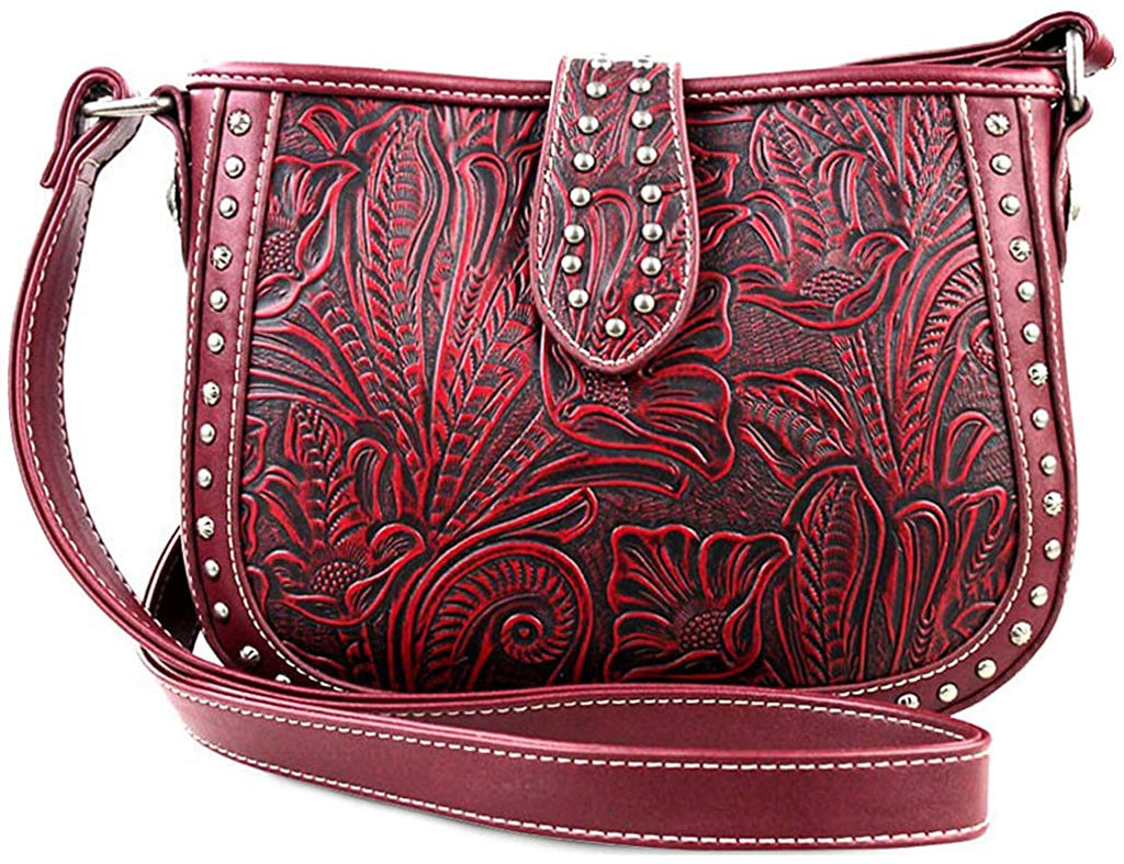 Montana West Small Crossbody w/Leather Tooled Front (Dark Red)