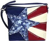 Montana West Concealed Carry, Lonestar Denim Patch Crossbody- Navy