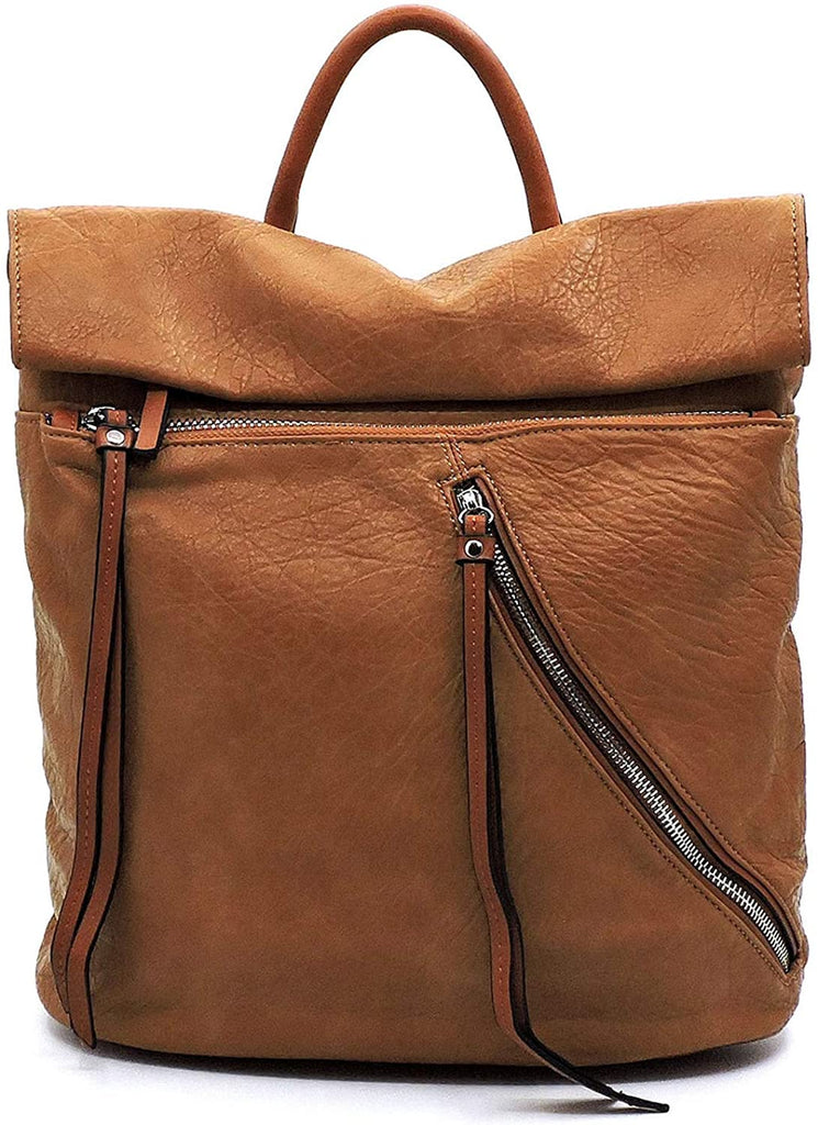 NEW Le Miel 12.5 x 13.5 Distressed Effect Flap Backpack- 5 COLORS (Brown)