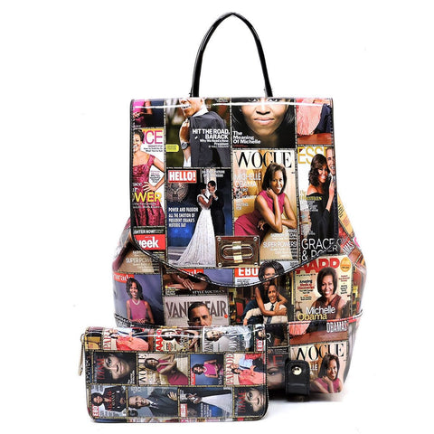 Obama Magazine Print Collection Flap Backpack + Wallet (Multi)