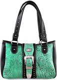 Montana West Western Shoulder Bag w/Floral Tooling on Leather (Turquoise/Blk)