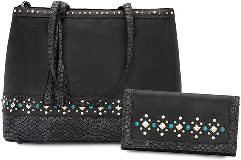 Bandana Dual Entry Concealed Carry Zip Top Studded Tote + Wallet (Charcoal)