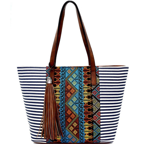 MMS Design Studio Embroidered Boho, Zip Top Tote w/Charm (Navy)