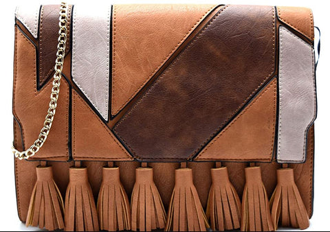 3am Forever Fringe Accent Color Block Large Clutch (Brown Multi)