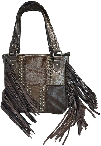 Montana West Concealed Carry, Leather Fringe Zip-Top Tote- Coffee