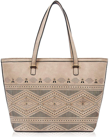 New VIETA Perforated Aztec Zip-Top large Tote (Taupe)