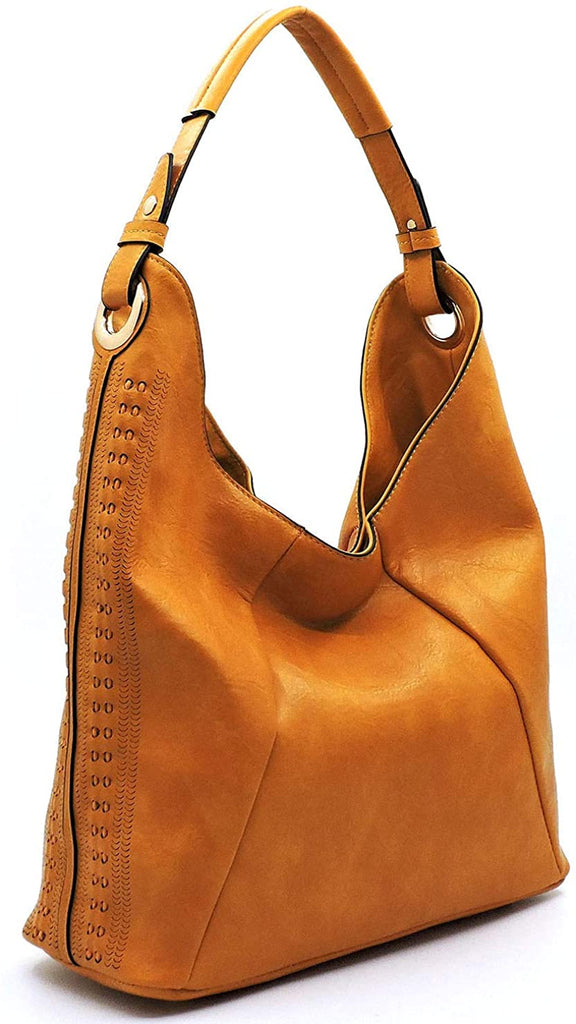 Handbag Republic Classic Hobo w/Perforated Accents (Mustard)