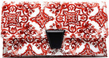 New 3am Forever Paisley Print Buckle Flap Clutch w/Strap (Burgundy)