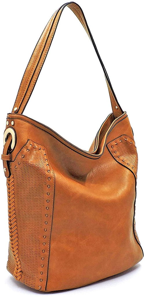 Handbag Republic Perforated Classic Vegan Leather Hobo (Dark Mustard)