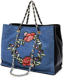 Like Dreams Zahara Floral Embroidery 3-Comparment Tote- Denim Dark